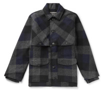 Oversized Checked Brushed Wool-Flannel Jacket