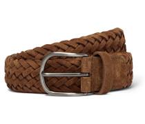 4cm Tan Woven Suede Belt