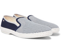 Maltese Falcon Cotton-mesh And Canvas Espadrilles - Blue