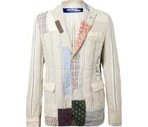 Slim-Fit Patchwork Linen Blazer