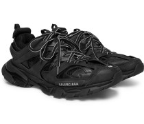 Track Mesh And Leather Sneakers - Black