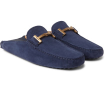 Gommino Collapsible-heel Nubuck And Leather Driving Shoes - Navy