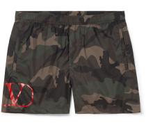 Short-Length Camouflage-Print Shell Swim Shorts
