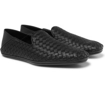 Intrecciato Leather Collapsible-heel Slippers - Black