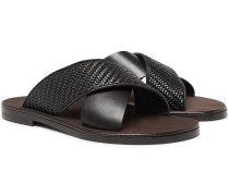 Rosario Pelle Tessuta Leather Sandals - Black