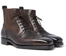 Panelled Leather Cap-toe Boots - Brown