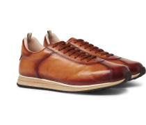 Keino Polished-leather Sneakers - Brown