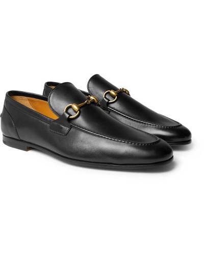 Horsebit Leather Loafers - Black