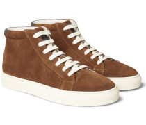 Leather-trimmed Suede High-top Sneakers