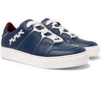 Triple Stitch Leather Slip-on Sneakers - Blue