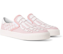 Skel Toe Leather-Appliquéd Checked Canvas Slip-On Sneakers