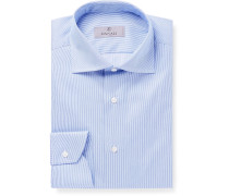 Blue Slim-Fit Cutaway-Collar Striped Cotton-Twill Shirt