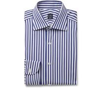 Navy Cutaway-Collar Striped Cotton-Poplin Shirt