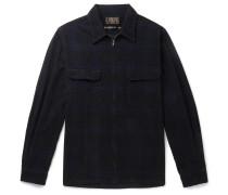 Checked Cotton-Corduroy Zip-Up Shirt