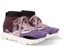 Valentino Garavani Heroes Tribe 4 Fringed Leather-trimmed Stretch-mesh Sneakers