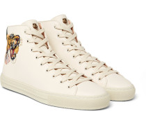 Major Tiger-appliquéd Full-grain Leather High-top Sneakers