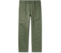 Belted Pleated Cotton-Twill Cargo Trousers