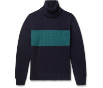 Slim-Fit Striped Wool Rollneck Sweater