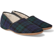 Crawford Shearling-lined Checked Wool-flannel Slippers