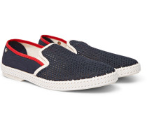 Cotton-mesh Espadrilles - Blue