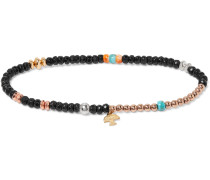 Onyx, Turquoise, Oyster, Sterling Silver and Gold-Fill Bracelet