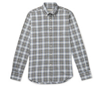 Slim-Fit Checked Cotton-Flannel Shirt