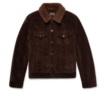 Shearling-lined Cotton-corduroy Trucker Jacket