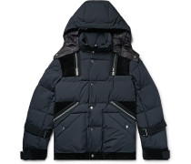 Velvet-trimmed Quilted Ripstop Hooded Down Jacket