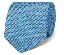 8cm Printed Mulberry Silk Tie - Blue