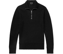 Slim-fit Ribbed Merino Wool And Cashmere-blend Half-zip Sweater - Black