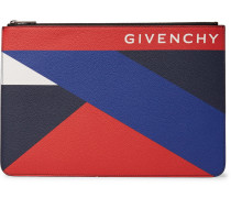 Colour-block Pebble-grain Leather Pouch - Multi
