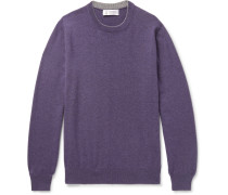 Contrast-tipped Cashmere Sweater - Purple