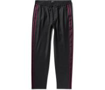 Black Tapered Webbing-trimmed Wool-blend Drawstring Trousers - Black