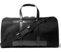 Panelled Leather And Canvas Duffle Bag