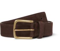 3.5cm Brown Nubuck Belt - Brown