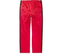 Striped Satin-jersey Sweatpants - Red