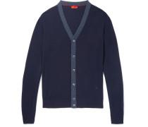 Herringbone-trimmed Wool Cardigan
