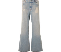 Flared Bleached Denim Jeans