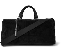 Suede And Leather-trimmed Corduroy Holdall - Black