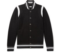 Logo-embroidered Wool Varsity Jacket - Black
