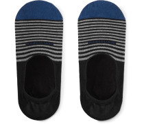 Three-Pack Invisible Touch Striped Stretch Pima Cotton-Blend No-Show Socks
