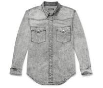 Distressed Acid-washed Denim Western Shirt - Dark gray