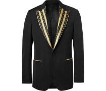 Black Slim-fit Contrast-trimmed Virgin Wool Blazer - Black
