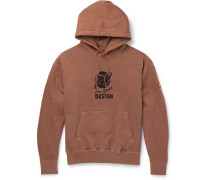 Globe Heavy Logo-embroidered Cotton-jersey Hoodie - Brown