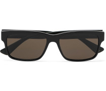 Square-frame Striped Acetate Sunglasses