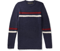 Slim-fit Striped Cashmere Sweater - Navy