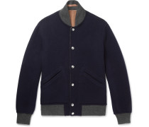 Reversible Wool And Cashmere-blend Bomber Jacket - Navy