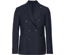 Storm-blue Double-breasted Wool Blazer - Storm blue