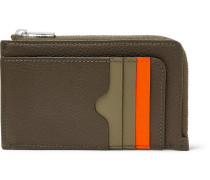 Colour-block Full-grain Leather Zip-around Cardholder - Green