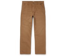 Single Knee Wide-leg Cotton-canvas Trousers - Camel